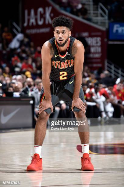 Tyler Dorsey of the Atlanta Hawks looks on during the preseason game against the Cleveland Cavaliers on October 4 2017 at Quicken Loans Arena in...