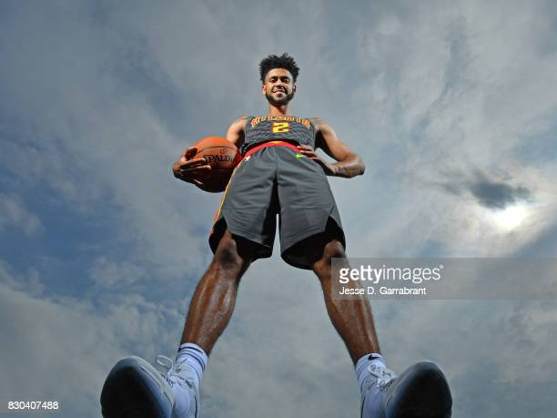 Tyler Dorsey of the Atlanta Hawks poses for a portrait during the 2017 NBA rookie photo shoot on August 11 2017 at the Madison Square Garden Training...