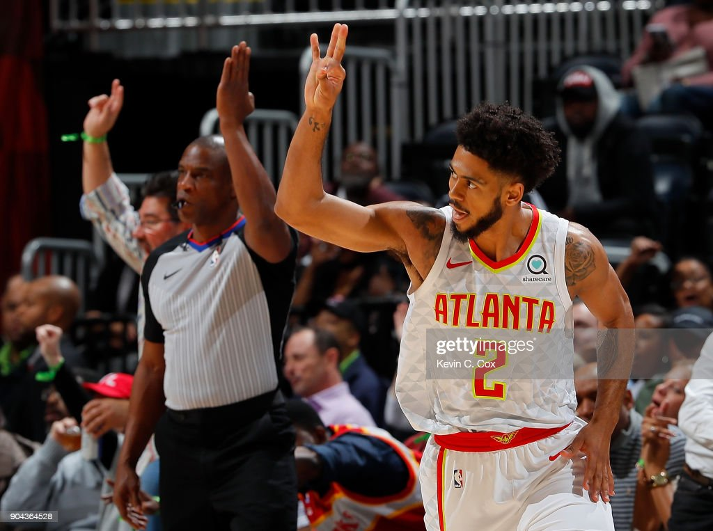 Tyler Dorsey #2 of the Atlanta Hawks reacts after hitting a three-point basket against the Brooklyn Nets at Philips Arena on January 12, 2018 in Atlanta, Georgia.