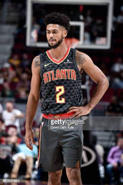Tyler Dorsey of the Atlanta Hawks reacts during the preseason game against the Cleveland Cavaliers on October 4 2017 at Quicken Loans Arena in...
