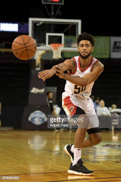Tyler Dorsey of the Erie Bayhawks passes the ball during the game against the Greensboro Swarm at the Erie Insurance Arena on November 18 2017 in...