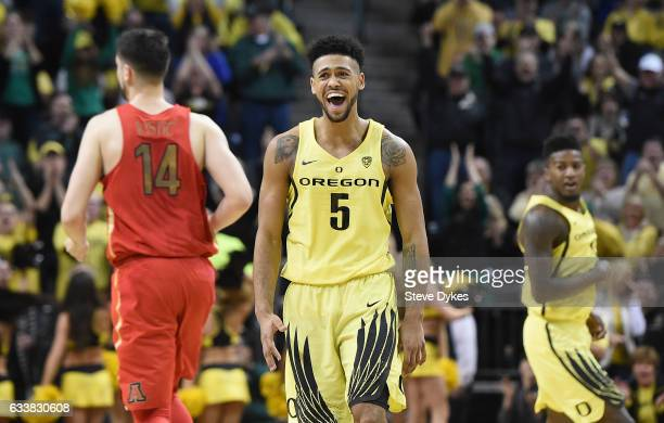 Tyler Dorsey of the Oregon Ducks celebrates after hitting a shot during the first half of the game against the Arizona Wildcatsat Matthew Knight...