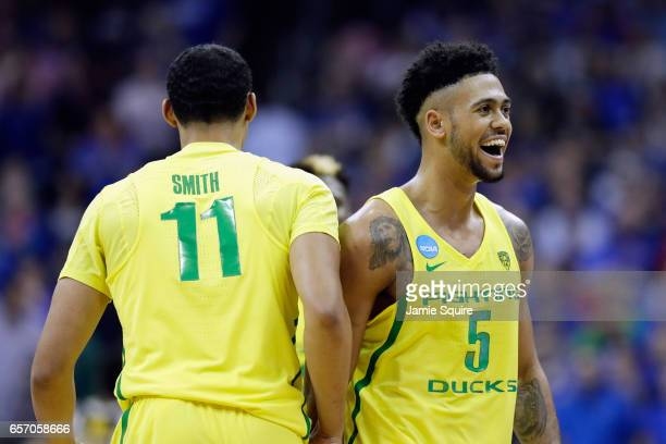 Tyler Dorsey of the Oregon Ducks reacts after defeating the Michigan Wolverines 6968 during the 2017 NCAA Men's Basketball Tournament Midwest...