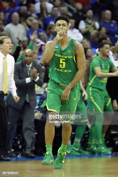 Tyler Dorsey of the Oregon Ducks reacts in the second half against the Kansas Jayhawks during the 2017 NCAA Men's Basketball Tournament Midwest...