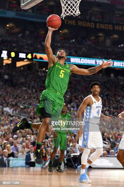 Tyler Dorsey of the Oregon Ducks shoots the ball during the 2017 NCAA Men's Final Four Semifinal against the North Carolina Tar Heels at University...