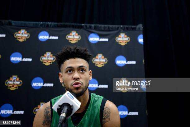 Tyler Dorsey of the Oregon Ducks speaks with the media during a press conference ahead of the 2017 NCAA Men's Final Four at University of Phoenix...