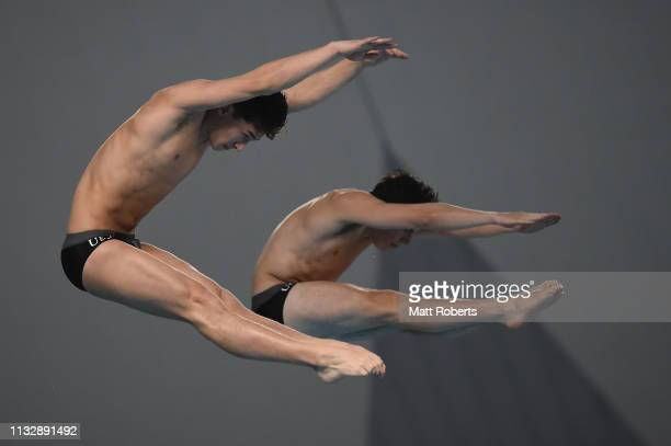 Tyler Downs and Jordan Rzepka of USA compete during the Men's 10m Platform Synchro Final on day one of the FINA Diving World Cup Sagamihara at...