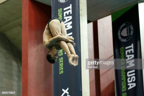 Tyler Downs competes during the Senior Men's 3m Springboard Final during the 2017 USA Diving Summer National Championships on August 11 2017 in...