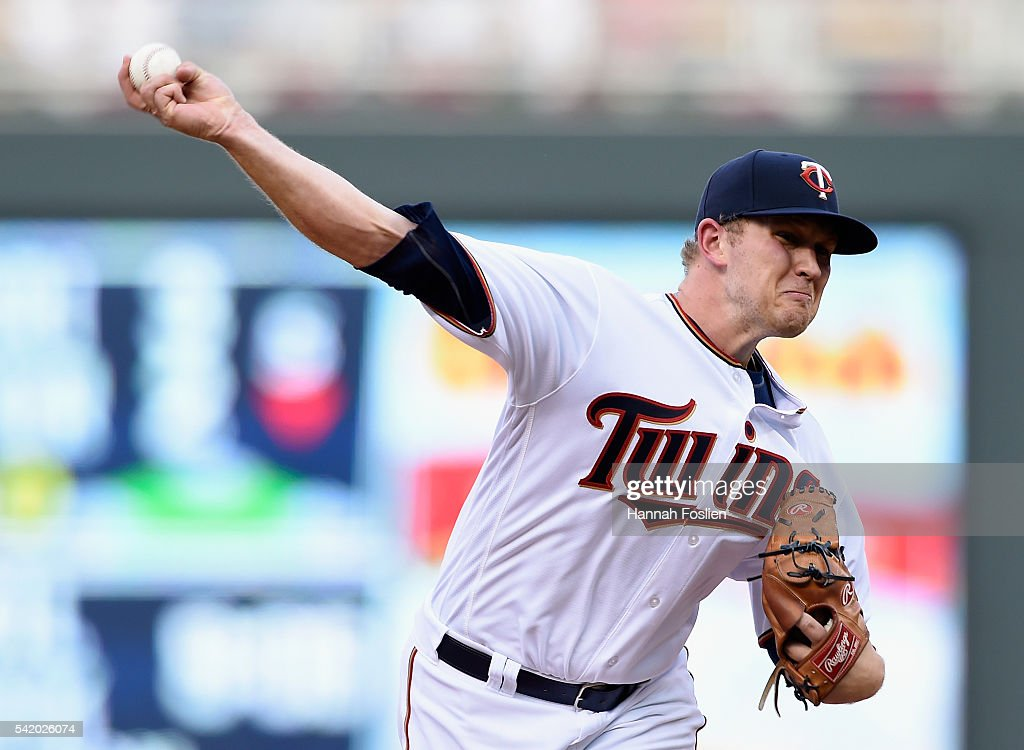 Tyler Duffey #56 of the Minnesota Twins delivers a pitch against the Philadelphia Phillies during the second inning of the game on June 21, 2016 at Target Field in Minneapolis, Minnesota.