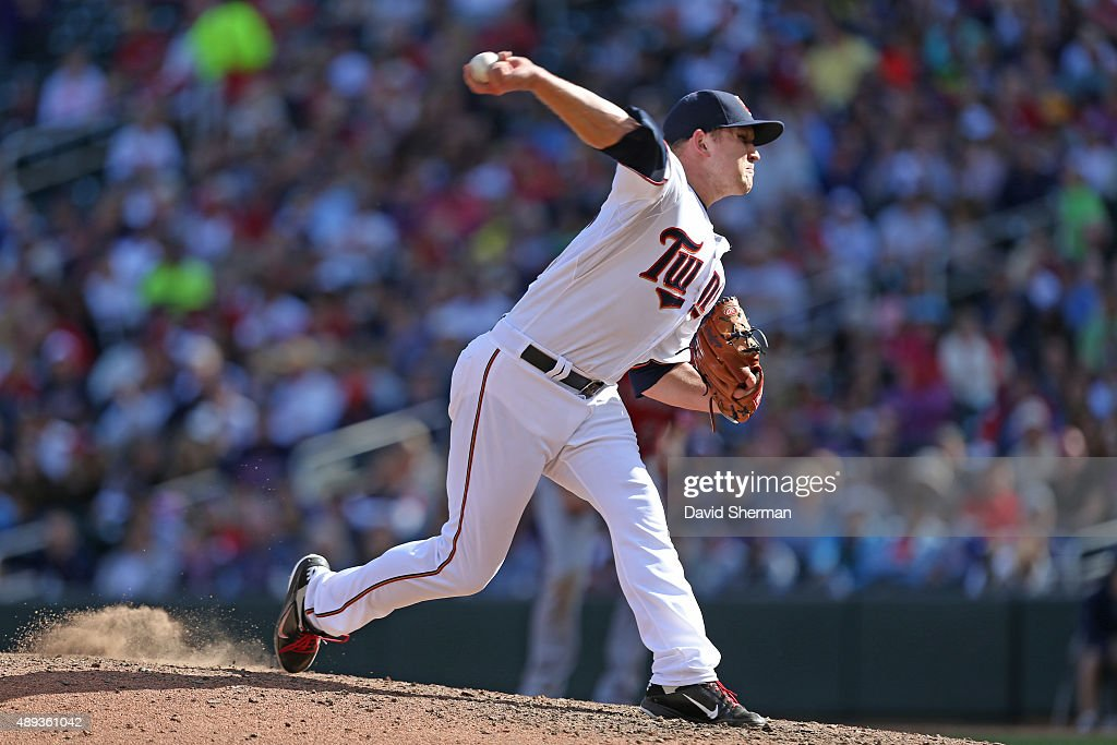Tyler Duffey #56 of the Minnesota Twins delivers a pitch in the 7th inning against the Los Angeles Angels of Anaheim at Target Field on September 20, 2015 in Minneapolis, Minnesota. The Twins defeated the Angels 8-1.