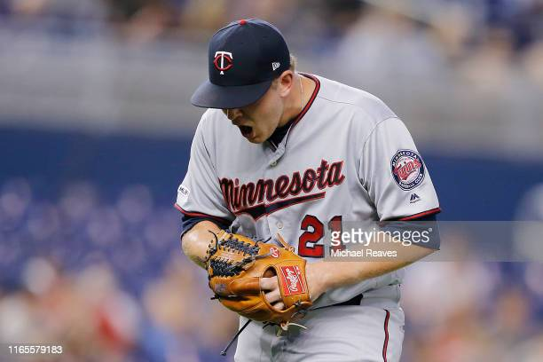 Tyler Duffey of the Minnesota Twins reacts in the seventh inning against the Miami Marlins at Marlins Park on August 01 2019 in Miami Florida