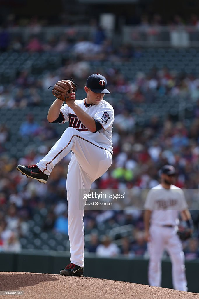 Tyler Duffey #56 of the Minnesota Twins throws a pitch during the first inning of the MLB game against Los Angeles Angels of Anaheim at Target Field on September 20, 2015 in Minneapolis, Minnesota.