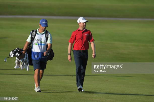 Tyler Duncan approaches the 18th green during the third round of The RSM Classic at Sea Island Resort Seaside Course on November 23 2019 in Sea...