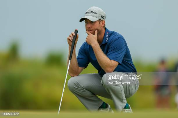 Tyler Duncan eyes his birdie putt on during the final round of the 50th annual ATT Byron Nelson on May 20 2018 at Trinity Forest Golf Club in Dallas...
