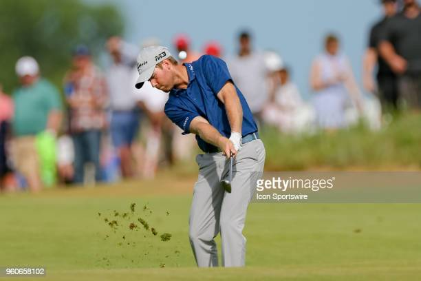 Tyler Duncan hits his approach shot to during the final round of the 50th annual ATT Byron Nelson on May 20 2018 at Trinity Forest Golf Club in...