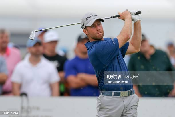 Tyler Duncan hits his tee shot on during the final round of the 50th annual ATT Byron Nelson on May 20 2018 at Trinity Forest Golf Club in Dallas TX