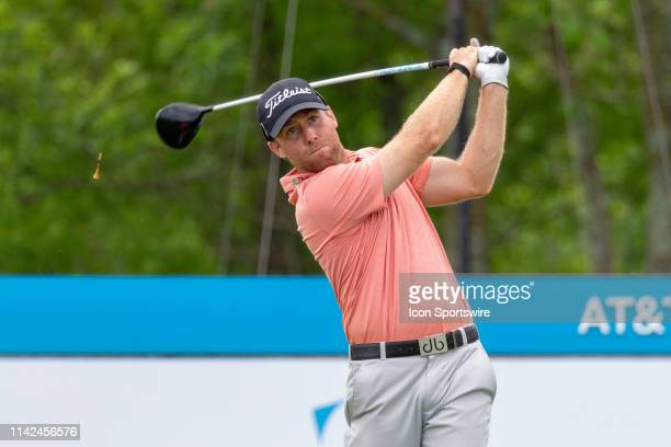 Tyler Duncan hits his tee shot on during the first round of the ATT Byron Nelson on May 9 2019 at Trinity Forest Golf Club in Dallas TX