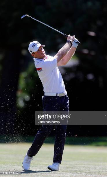 Tyler Duncan hits on the 9th hole during the third round of the Korn Ferry Tour Albertson's Boise Open at Hillcrest Country Club on August 24 2019 in...
