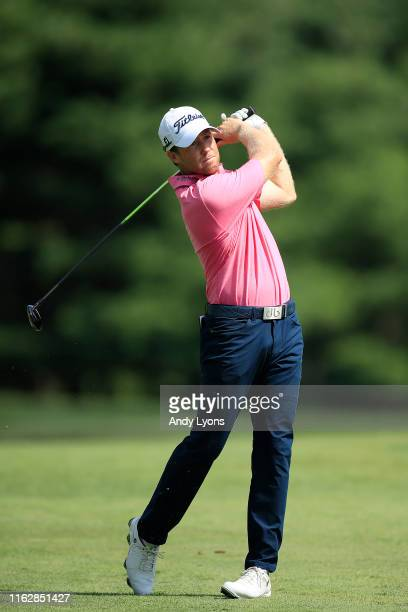 Tyler Duncan of the United States plays a shot on the 11th hole during the first round of the Barbasol Championship on July 18 2019 in Nicholasville...