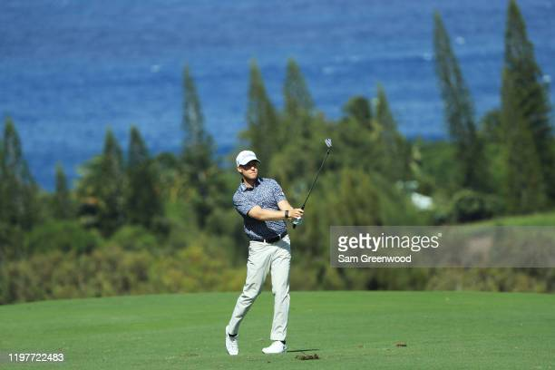 Tyler Duncan of the United States plays a shot on the fourth hole during the final round of the Sentry Tournament Of Champions at the Kapalua...