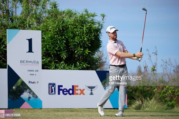 Tyler Duncan of the United States plays his shot from the first tee during the final round of the Bermuda Championship at Port Royal Golf Course on...