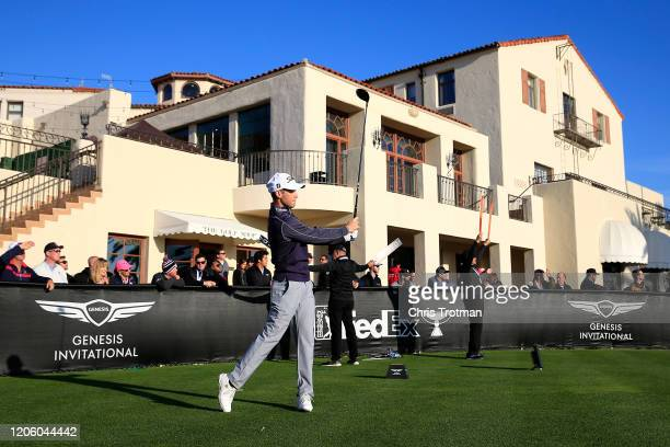 Tyler Duncan of the United States plays his shot from the first tee during the first round of the Genesis Invitational on February 13 2020 in Pacific...