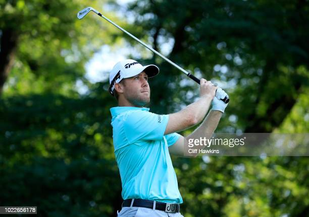 Tyler Duncan of the United States plays his shot from the second tee during the second round of The Northern Trust on August 24 2018 at the Ridgewood...