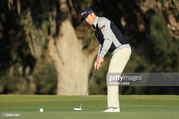 Tyler Duncan of the United States putts for birdie on the 18th green during the final round of the RSM Classic on the Seaside course at Sea Island...