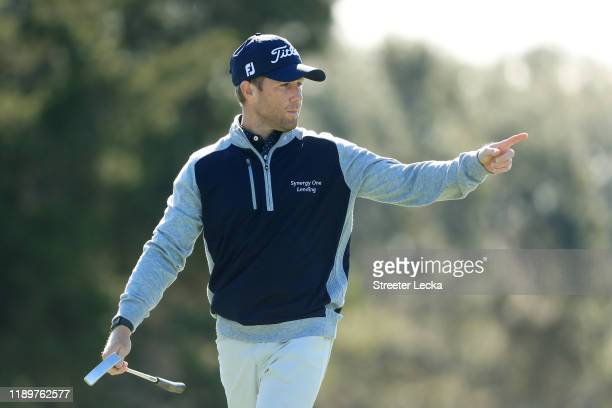 Tyler Duncan of the United States reacts on the first green during the final round of the RSM Classic on the Seaside course at Sea Island Golf Club...