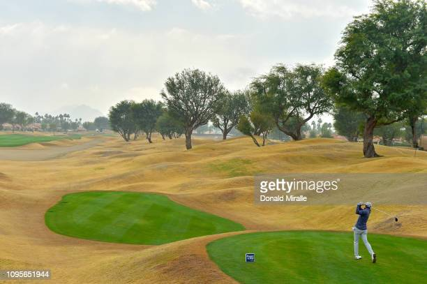 Tyler Duncan of the United States tees off during the first round of the Desert Classic at the Stadium Course on January 17 2019 in La Quinta...