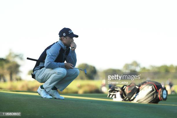 Tyler Duncan of the United States waits to putt on the 18th green during a playoff with Webb Simpson of the United States in the final round of the...