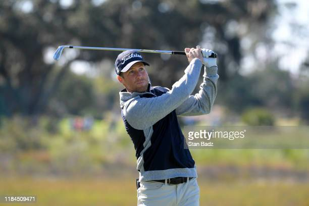Tyler Duncan plays a tee shot on the third hole during the final round of The RSM Classic at Sea Island Resort Seaside Course on November 24 2019 in...