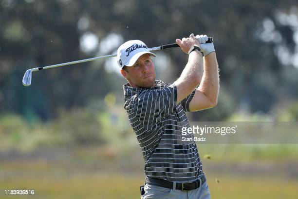Tyler Duncan plays a tee shot on the third hole during the second round of The RSM Classic at Sea Island Resort Seaside Course on November 22 2019 in...