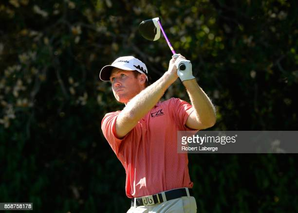 Tyler Duncan plays his shot from the fifth tee during the third round of the Safeway Open at the North Course of the Silverado Resort and Spa on...