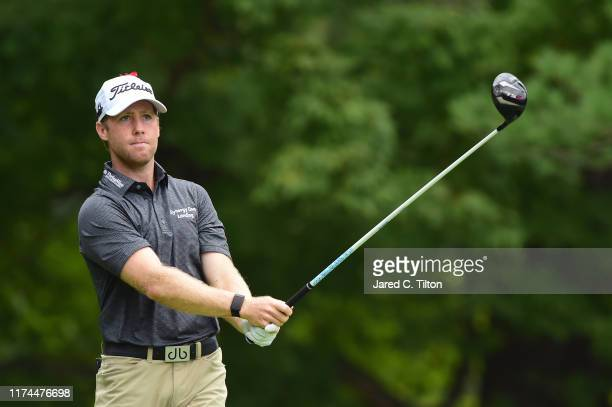 Tyler Duncan plays his shot from the sixth tee during the second round of A Military Tribute At The Greenbrier held at the Old White TPC course on...