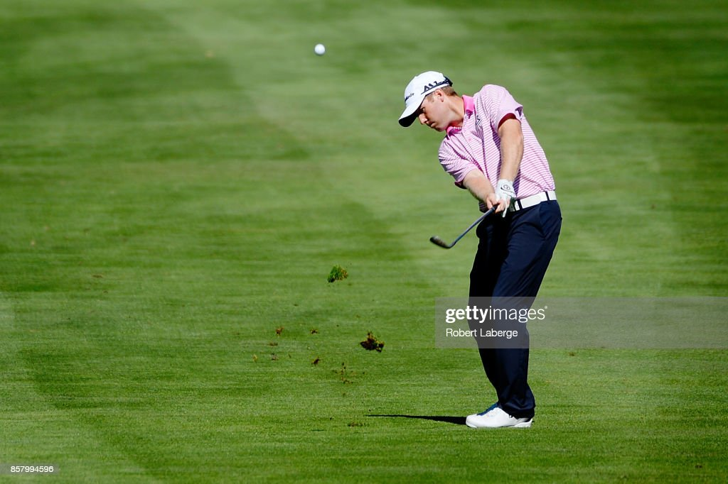 Tyler Duncan plays his shot on the 18th hole during the first round of the Safeway Open at the North Course of the Silverado Resort and Spa on October 5, 2017 in Napa, California.