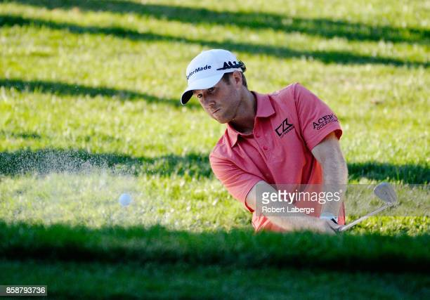 Tyler Duncan plays his shot out of the bunker on the 17th tee during the third round of the Safeway Open at the North Course of the Silverado Resort...