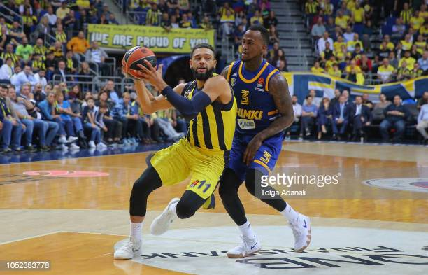Tyler Ennis #11 of Fenerbahce Istanbul in action with Dee Bost #3 of Khimki Moscow during the 2018/2019 Turkish Airlines EuroLeague Regular Season...