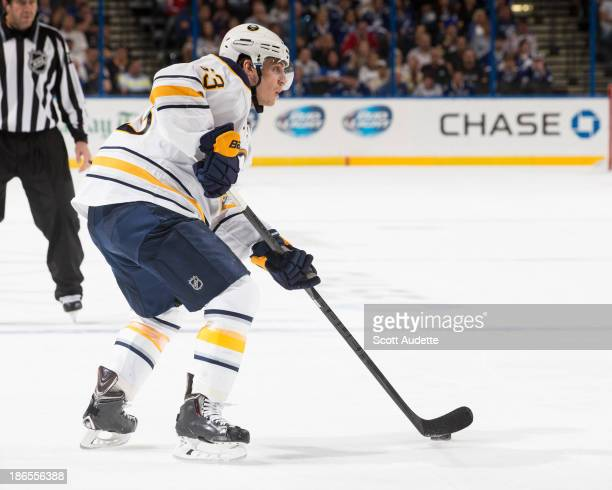 Tyler Ennis of the Buffalo Sabres carries the puck against the Tampa Bay Lightning at the Tampa Bay Times Forum on October 26 2013 in Tampa Florida