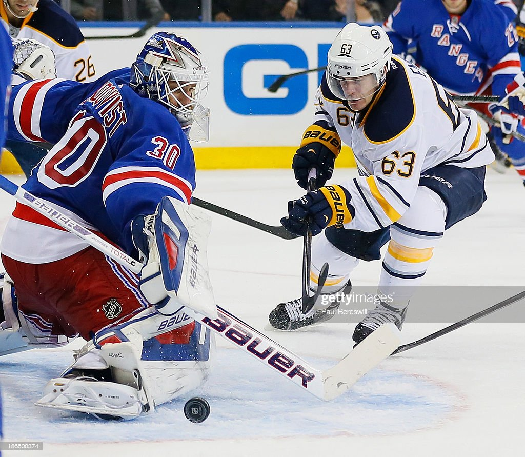 Tyler Ennis #63 of the Buffalo Sabres follows through as Goalie Henrik Lundqvist #30 of the New York Rangers makes a save in the last seconds of the third period to keep his shutout alive in an NHL hockey game at Madison Square Garden on October 31, 2013 in New York City.