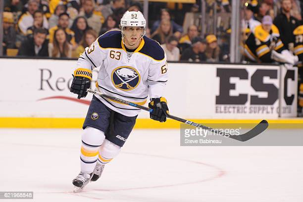 Tyler Ennis of the Buffalo Sabres skates against the Boston Bruins at the TD Garden on November 7 2016 in Boston Massachusetts