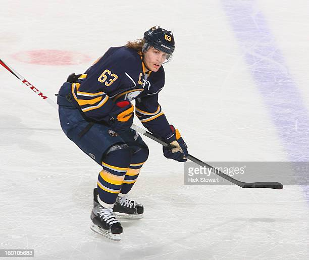Tyler Ennis of the Buffalo Sabres skates against the Carolina Hurricanes at First Niagara Center on January 25 2013 in Buffalo New YorkCarolina won 31