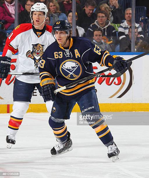 Tyler Ennis of the Buffalo Sabres skates against the Florida Panthers on January 2 2015 at the First Niagara Center in Buffalo New York