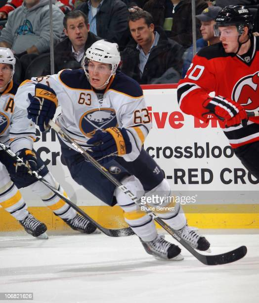 Tyler Ennis of the Buffalo Sabres skates against the New Jersey Devils at the Prudential Center on November 10 2010 in Newark New Jersey The Sabres...