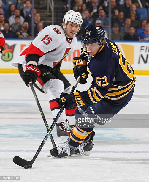 Tyler Ennis of the Buffalo Sabres skates against the Ottawa Senators on October 8 2015 at the First Niagara Center in Buffalo New York