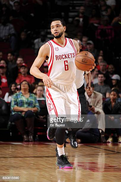 Tyler Ennis of the Houston Rockets brings the ball up court during the game against the Washington Wizards on January 2 2017 at the Toyota Center in...