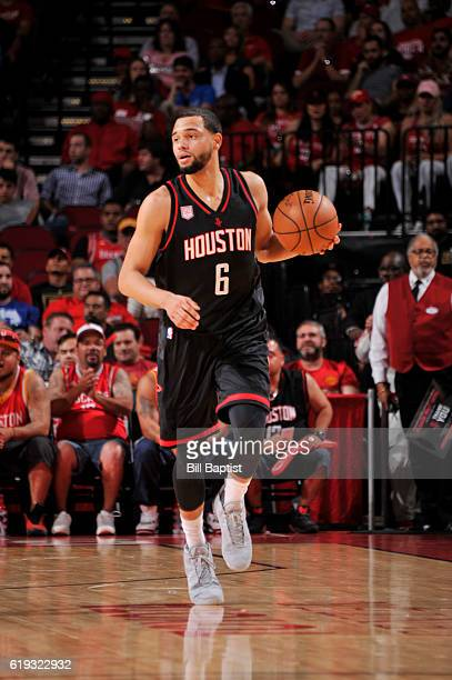 Tyler Ennis of the Houston Rockets brings the ball up the court during a game against the Dallas Mavericks on October 30 2016 at the Toyota Center in...
