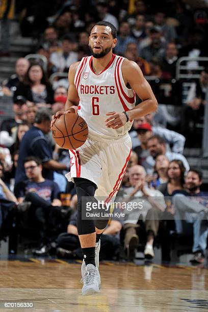 Tyler Ennis of the Houston Rockets handles the ball against the Cleveland Cavaliers on November 1 2016 at Quicken Loans Arena in Cleveland Ohio NOTE...