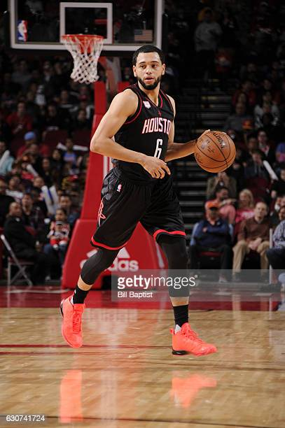 Tyler Ennis of the Houston Rockets handles the ball during a game against the New York Knicks on December 31 2016 at the Toyota Center in Houston...