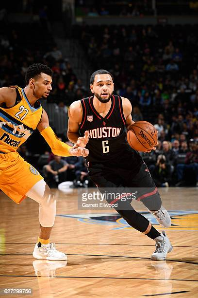 Tyler Ennis of the Houston Rockets handles the ball during the game against the Denver Nuggets on December 2 2016 at the Pepsi Center in Denver...